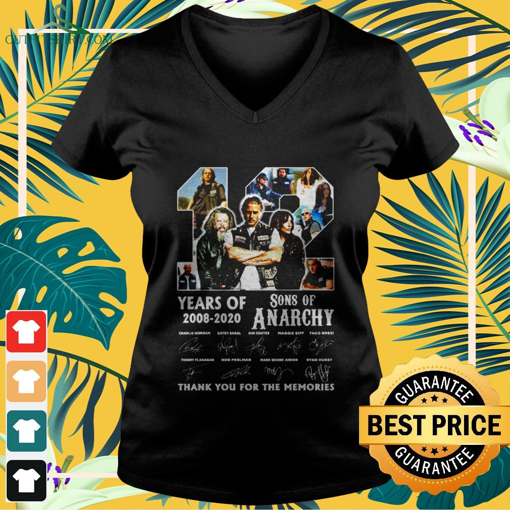 12 years old 2008 2020 Son of Anarchy signature thank you for the memories v-neck t-shirt