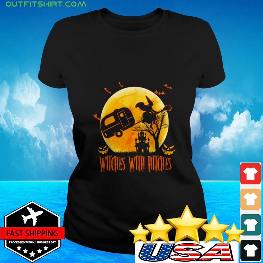 Halloween witches with hitches ladies-tee