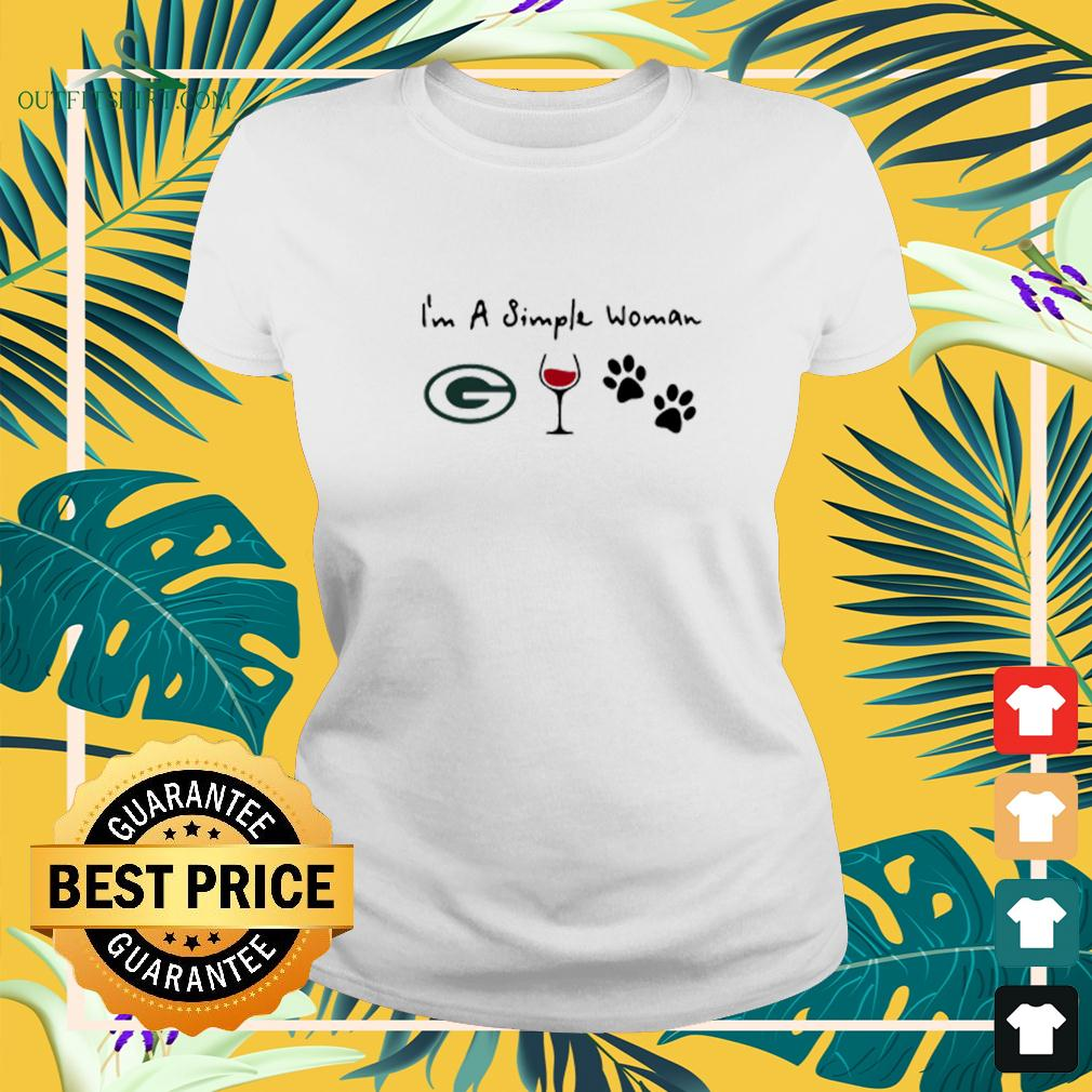 I'm A Simple Woman Green Bay Packer Wine And Dog Paw ladies-tee