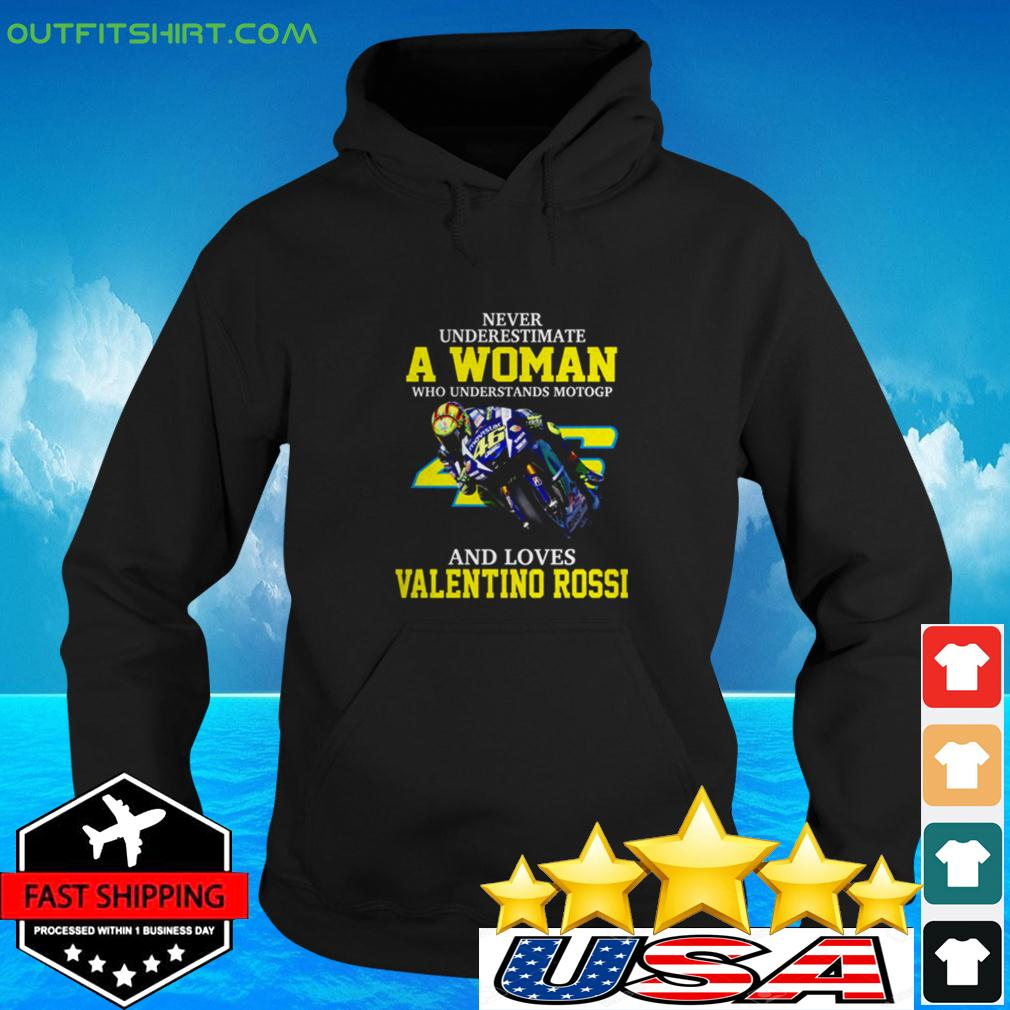 Never underestimate a woman who understands motogp and loves Valentino Rossi hoodie