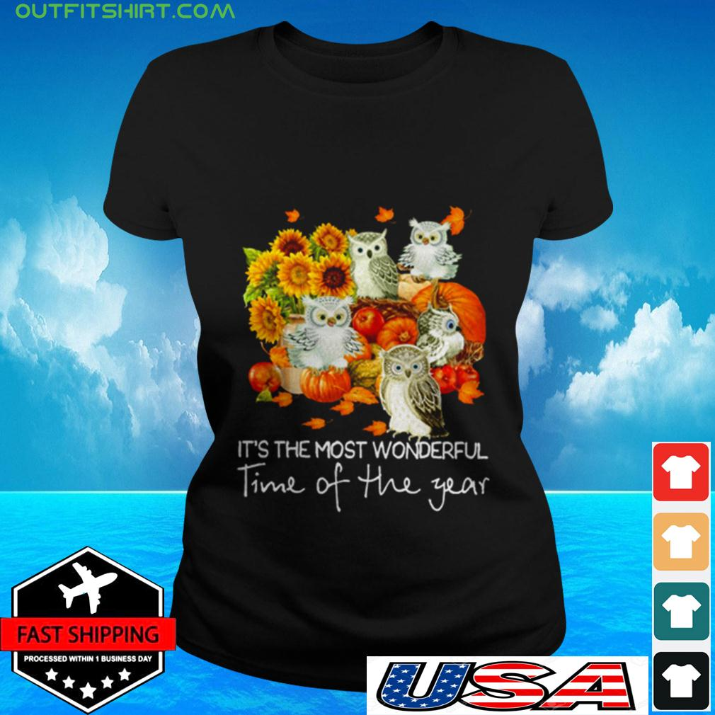 Owl It's the most wonderful time of the year ladies-tee