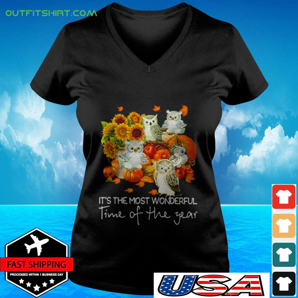 Owl It's the most wonderful time of the year v-neck t-shirt