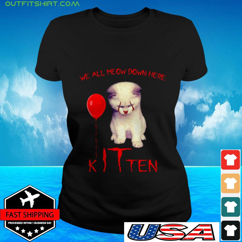 Pennywise cat we all meow down here kITten ladies-tee