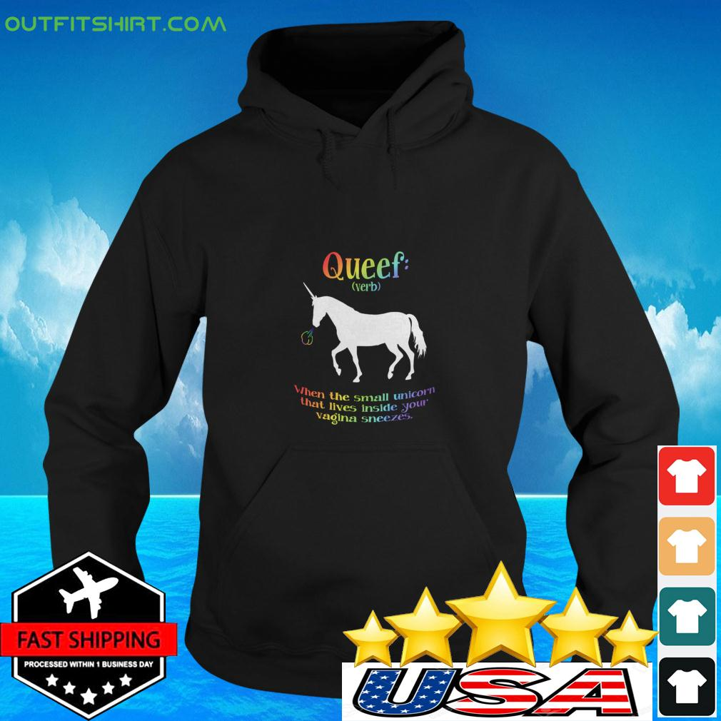 Queef verb when the small unicorn that lives inside your vagina sneezes hoodie
