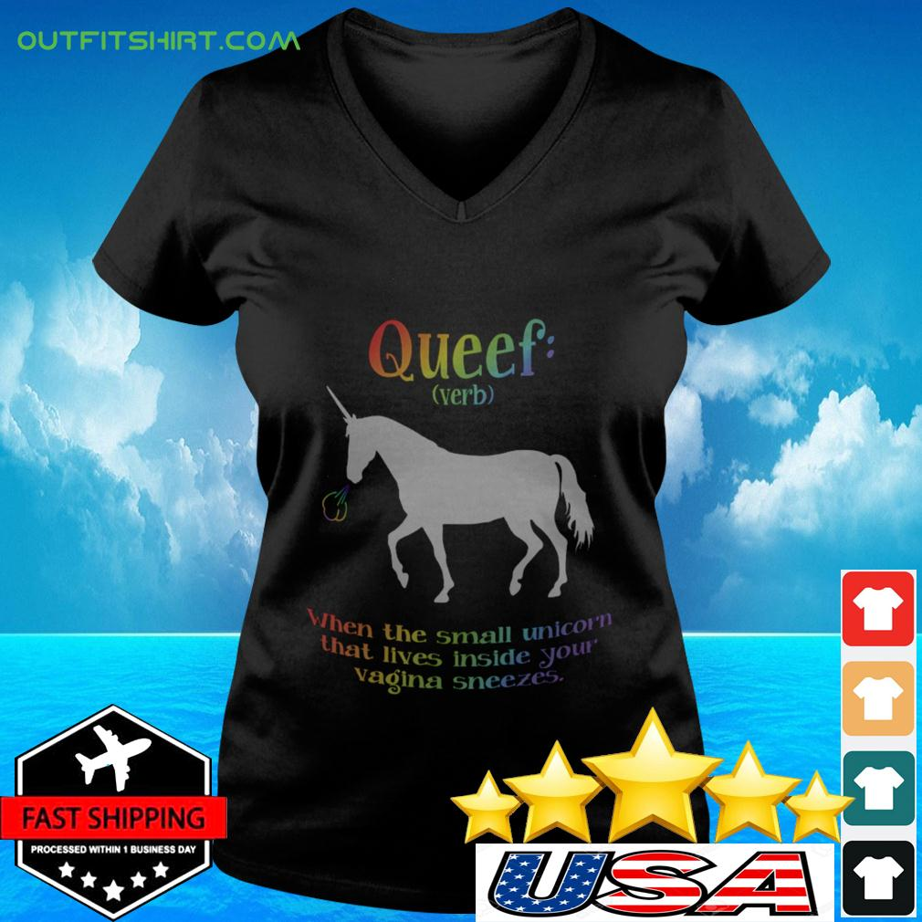 Queef verb when the small unicorn that lives inside your vagina sneezes v-neck t-shirt