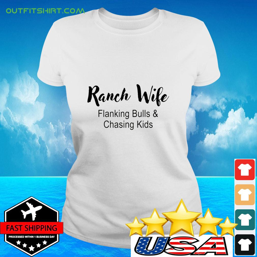 Ranch Wife Flanking Bulls Chasing Kids ladies-tee