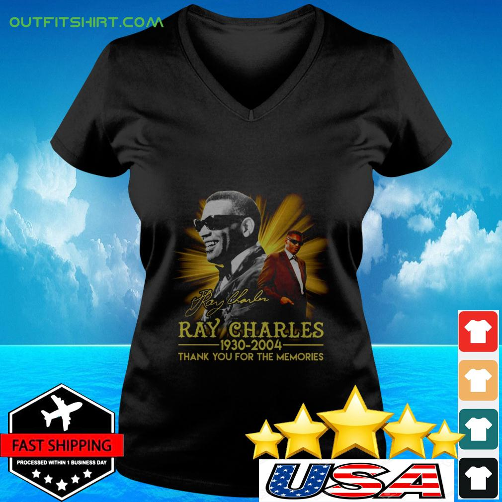 Ray Charles 1930 2004 thank you for the memories signature v-neck t-shirt