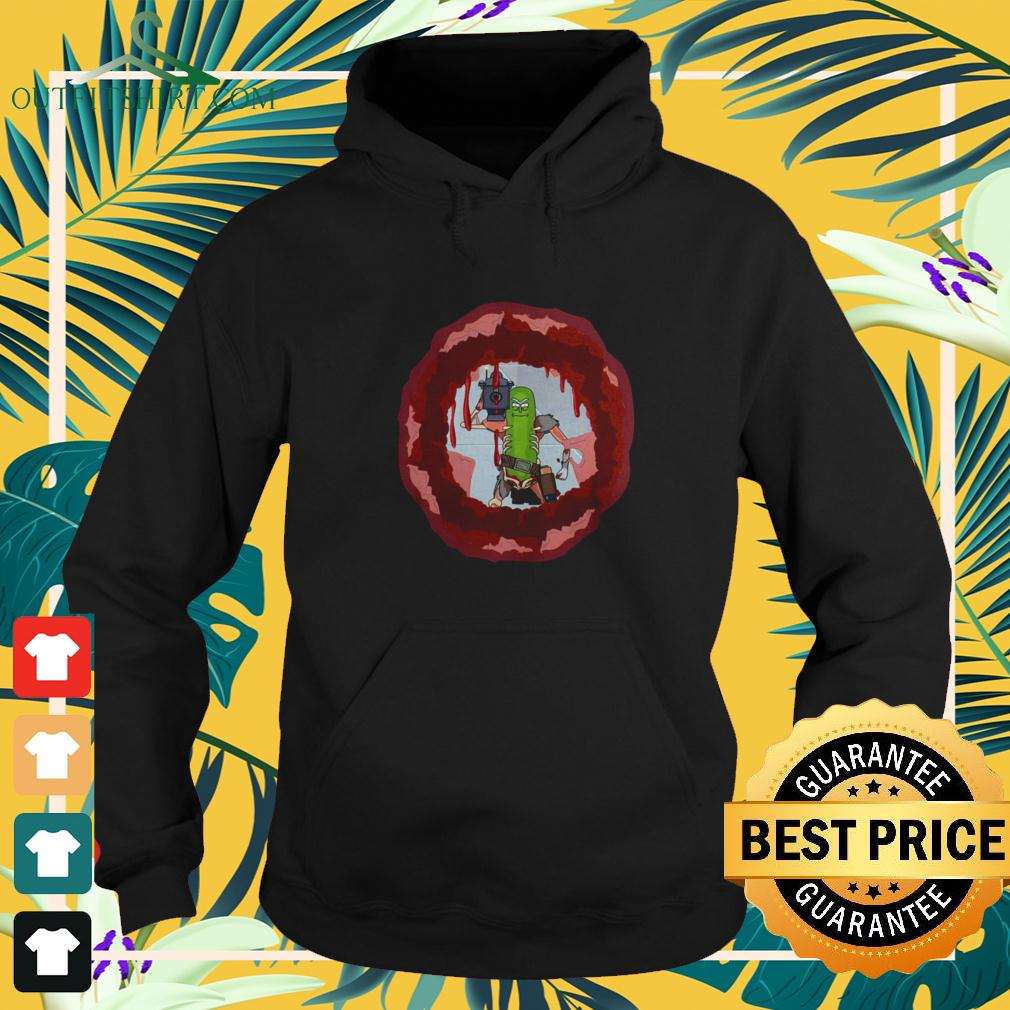 Rick And Morty Badass Pickle Rick Blow a hole in the chest hoodie