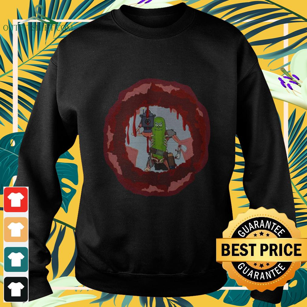 Rick And Morty Badass Pickle Rick Blow a hole in the chest sweater