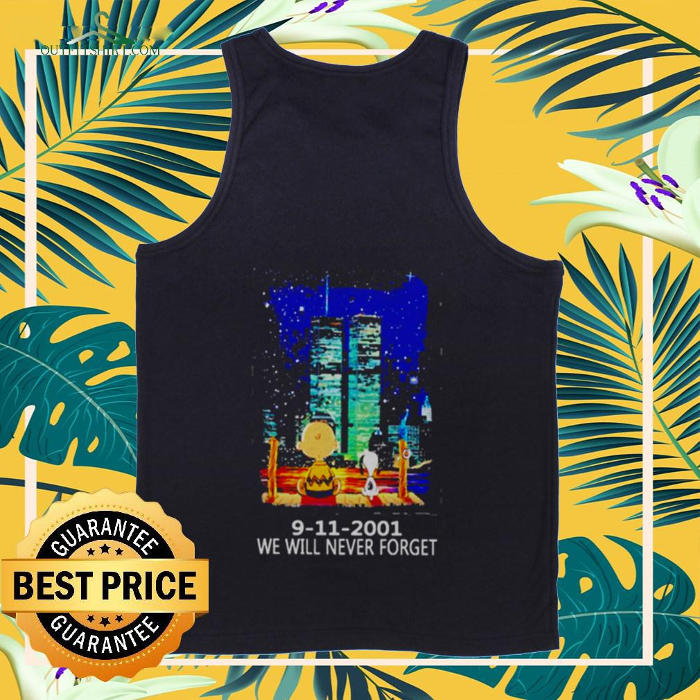 Snoopy and Charlie Brown World Trade Center 9 11 2001 We will never forget tanktop