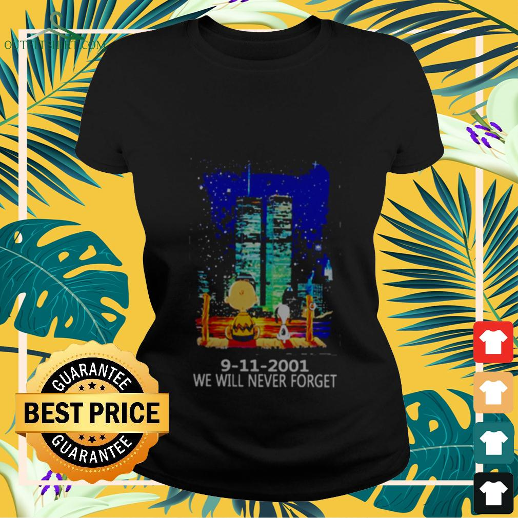 Snoopy and Charlie Brown World Trade Center 9 11 2001 We will never forget ladies-tee
