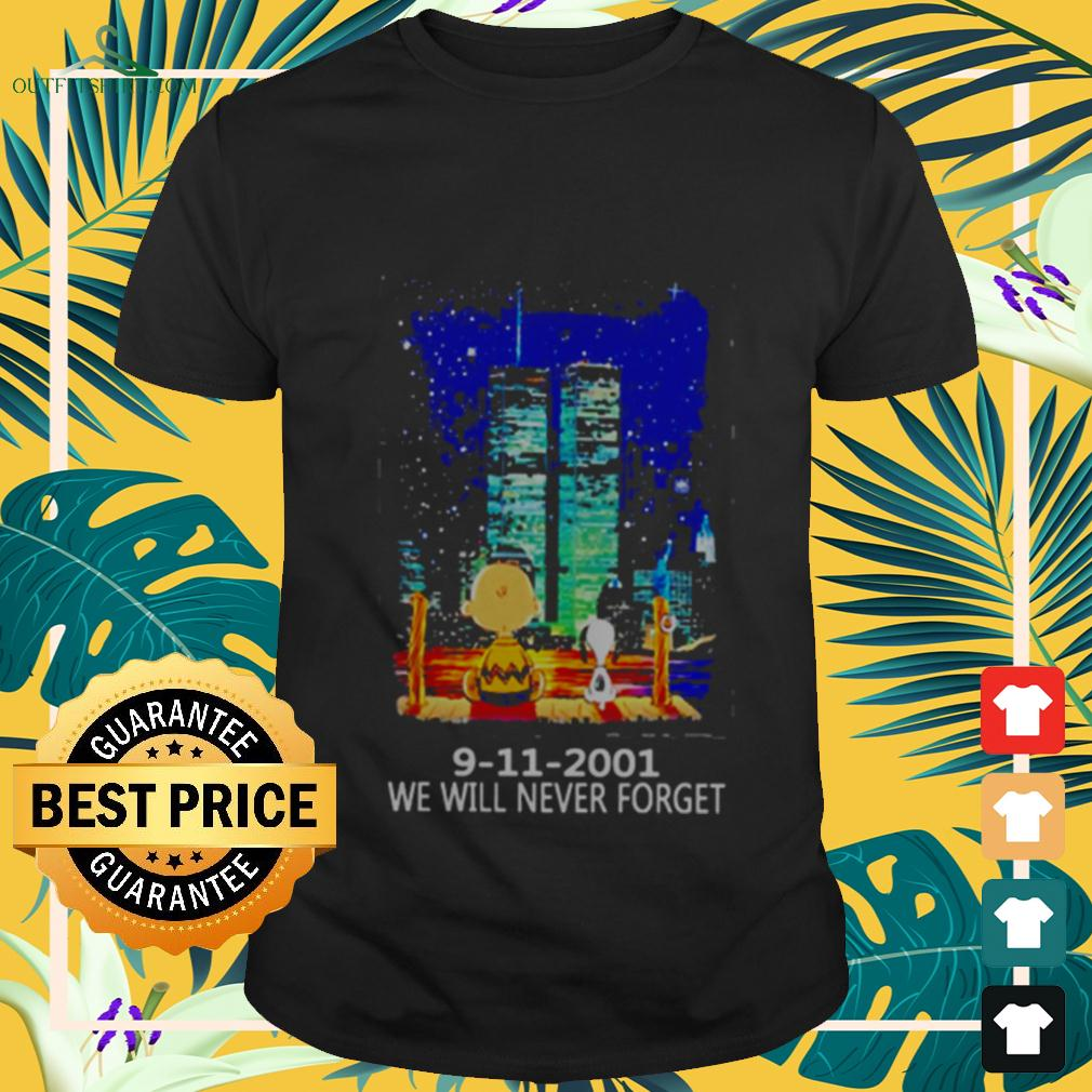Snoopy and Charlie Brown World Trade Center 9 11 2001 We will never forget t-shirt