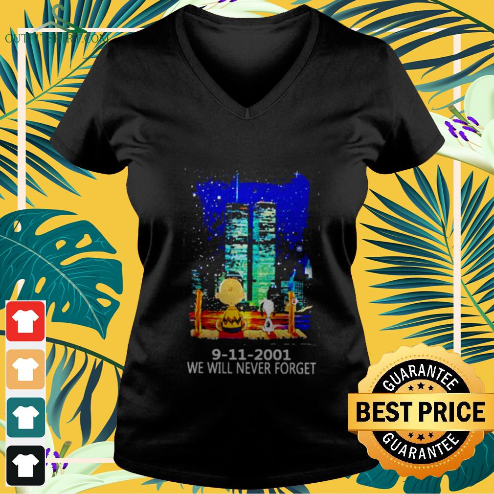 Snoopy and Charlie Brown World Trade Center 9 11 2001 We will never forget v-neck t-shirt