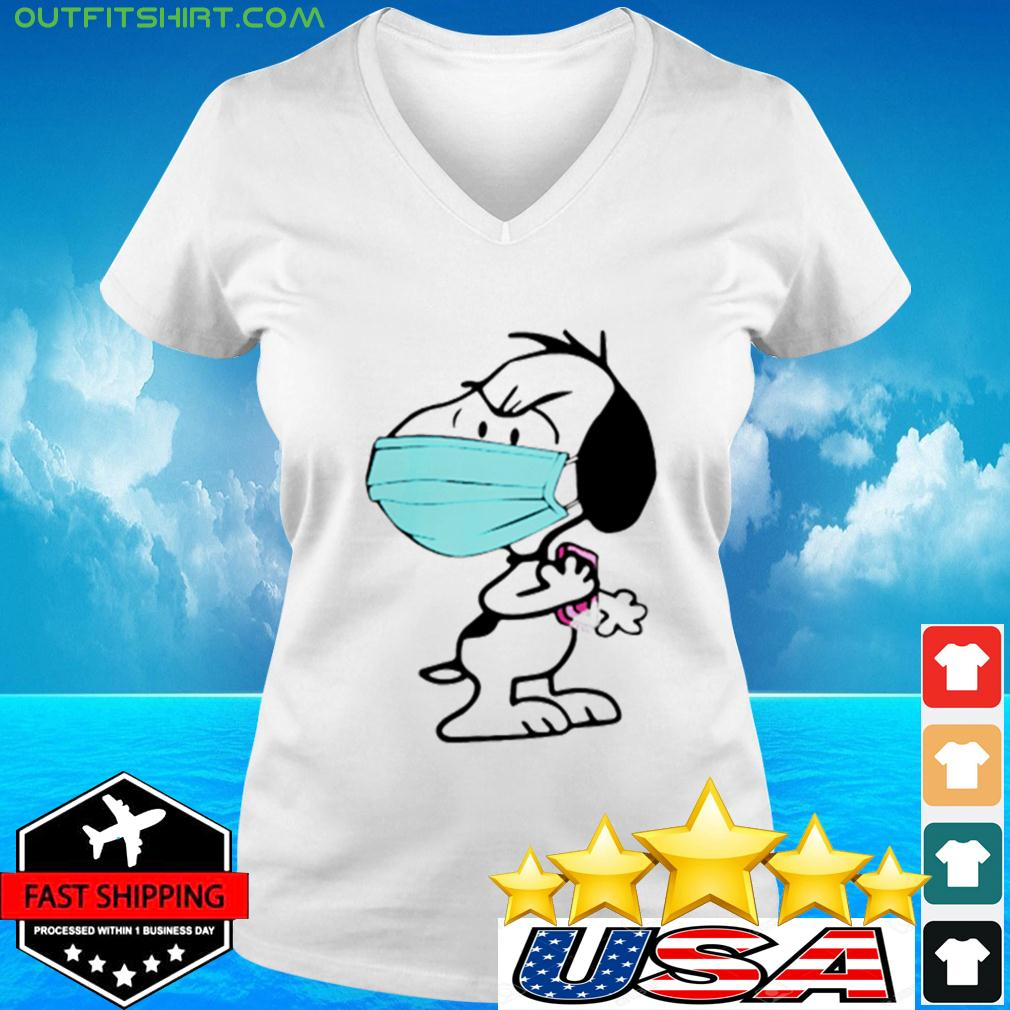 Snoopy Wearing Mask Wash Your Damn Hands v-neck t-shirt