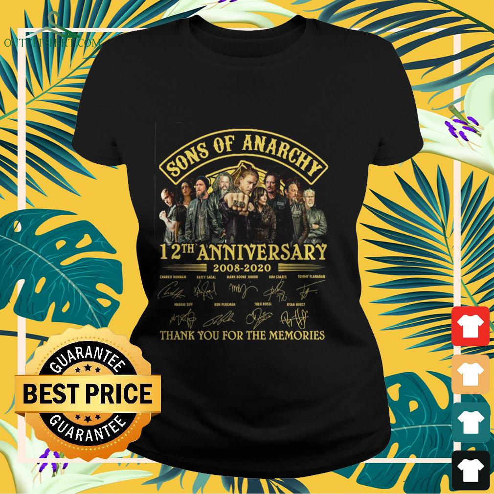 Sons of Anarchy 12th anniversary 2008 2020 thank you for the memories ladies-tee
