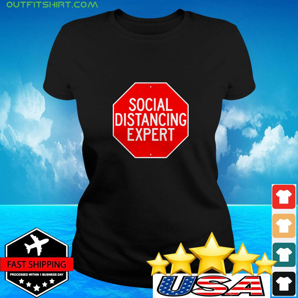 Stop Through Social Distance Funny Introvert ladies-tee