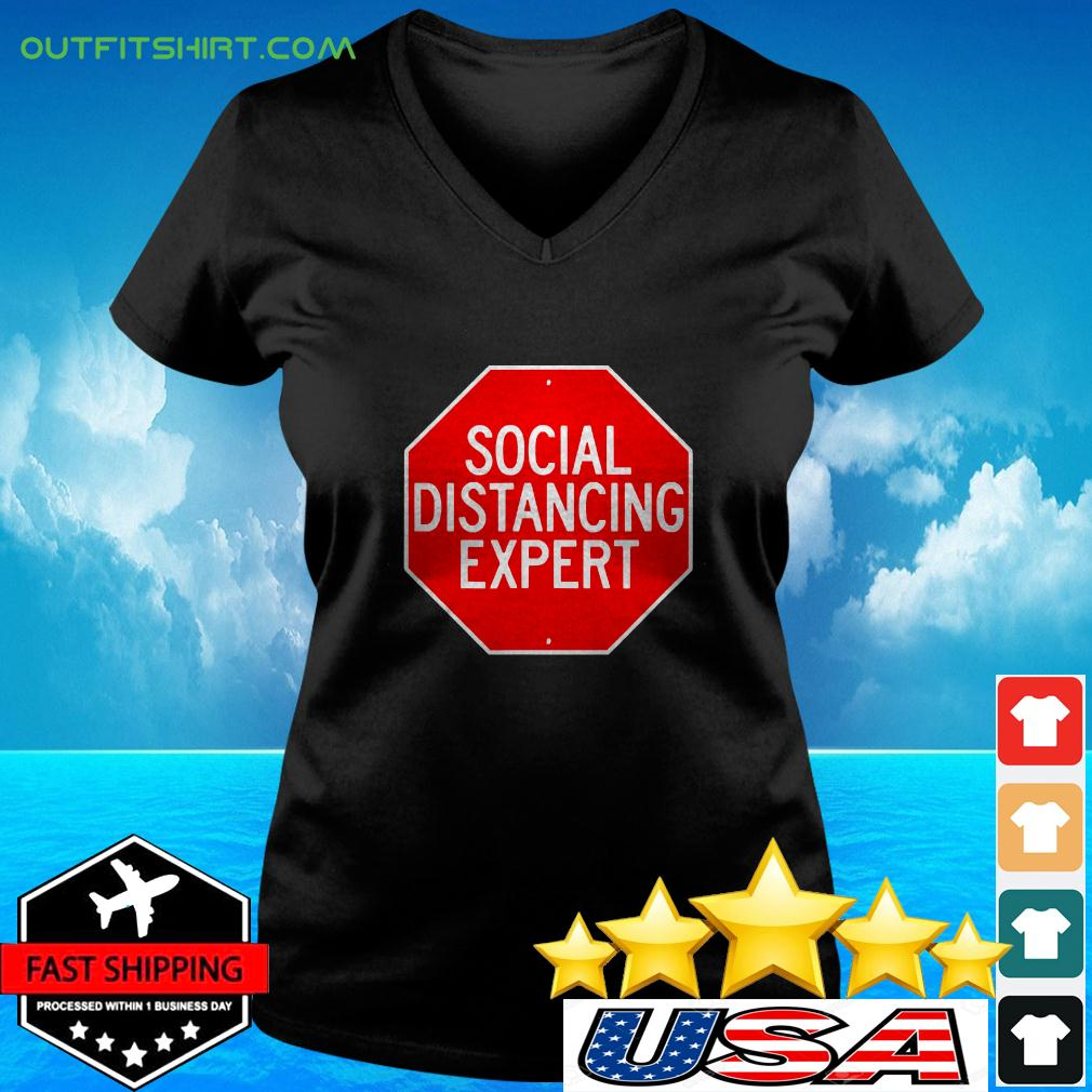 Stop Through Social Distance Funny Introvert v-neck t-shirt