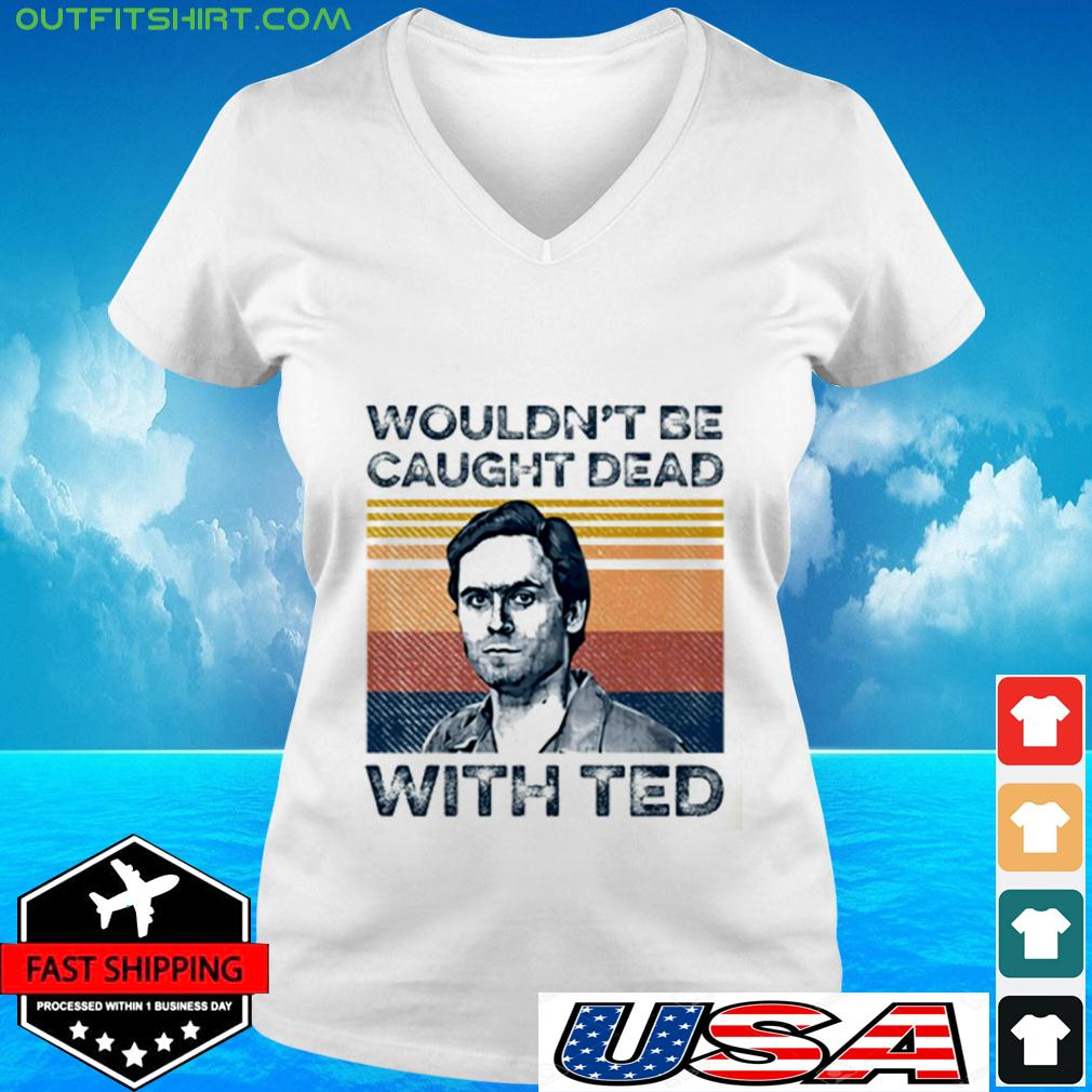 Ted Bundy wouldn't be caught dead with red vintage v-neck t-shirt