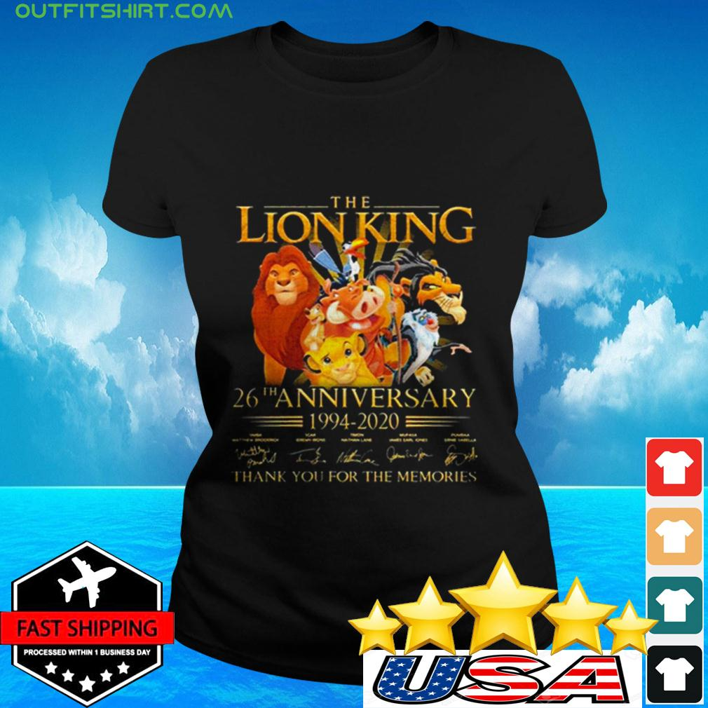 The Lion King 26th Anniversary 1994-2020 Signatures Thank You For The Memories ladies-tee