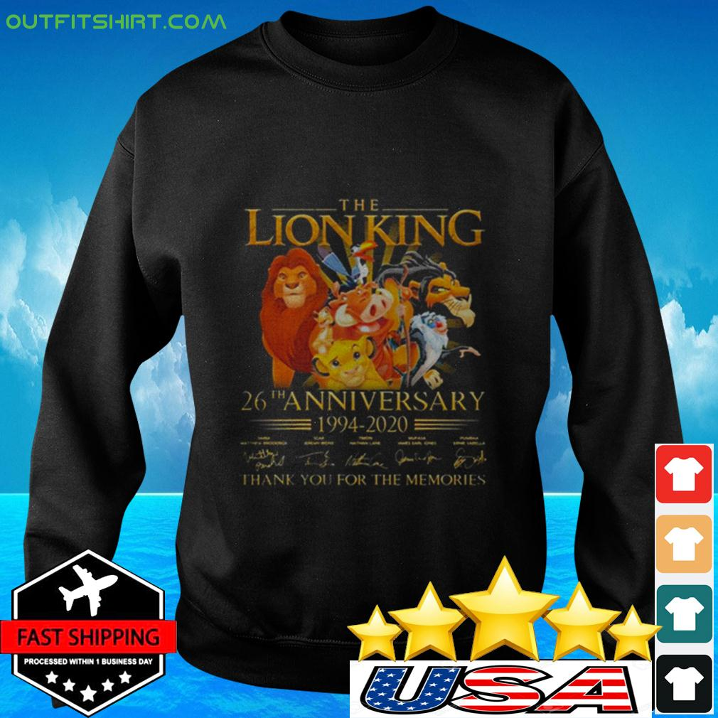 The Lion King 26th Anniversary 1994-2020 Signatures Thank You For The Memories sweater