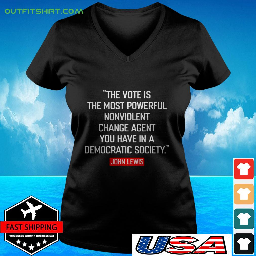 The vote is the most powerful nonviolent change agent v-neck t-shirt