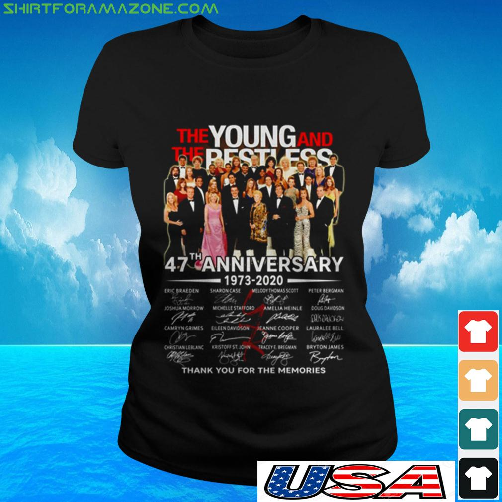 The Young and The Restless 47th Anniversary 1973 2020 thank you for the memories ladies-tee