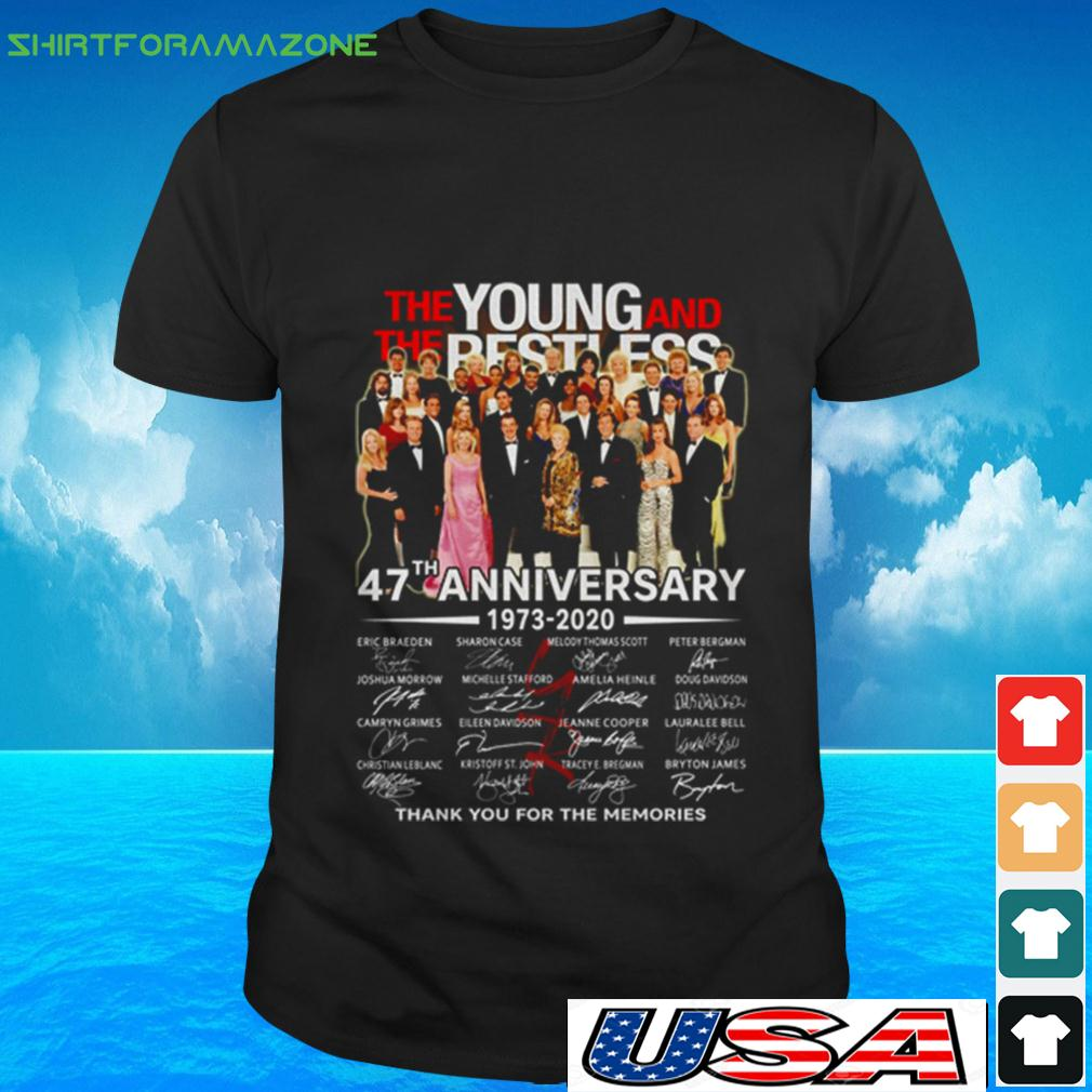 The Young and The Restless 47th Anniversary 1973 2020 thank you for the memories t-shirt
