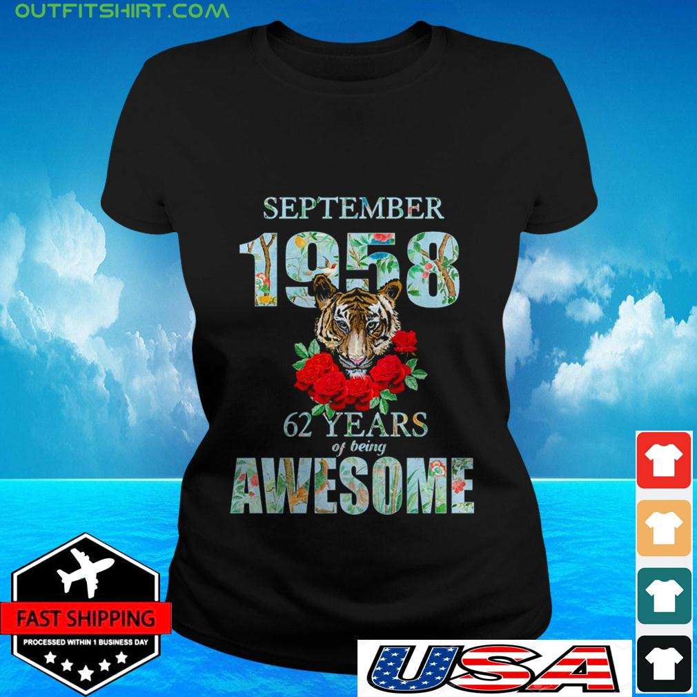 Tiger September 1958 62 years of being awesome ladies-tee