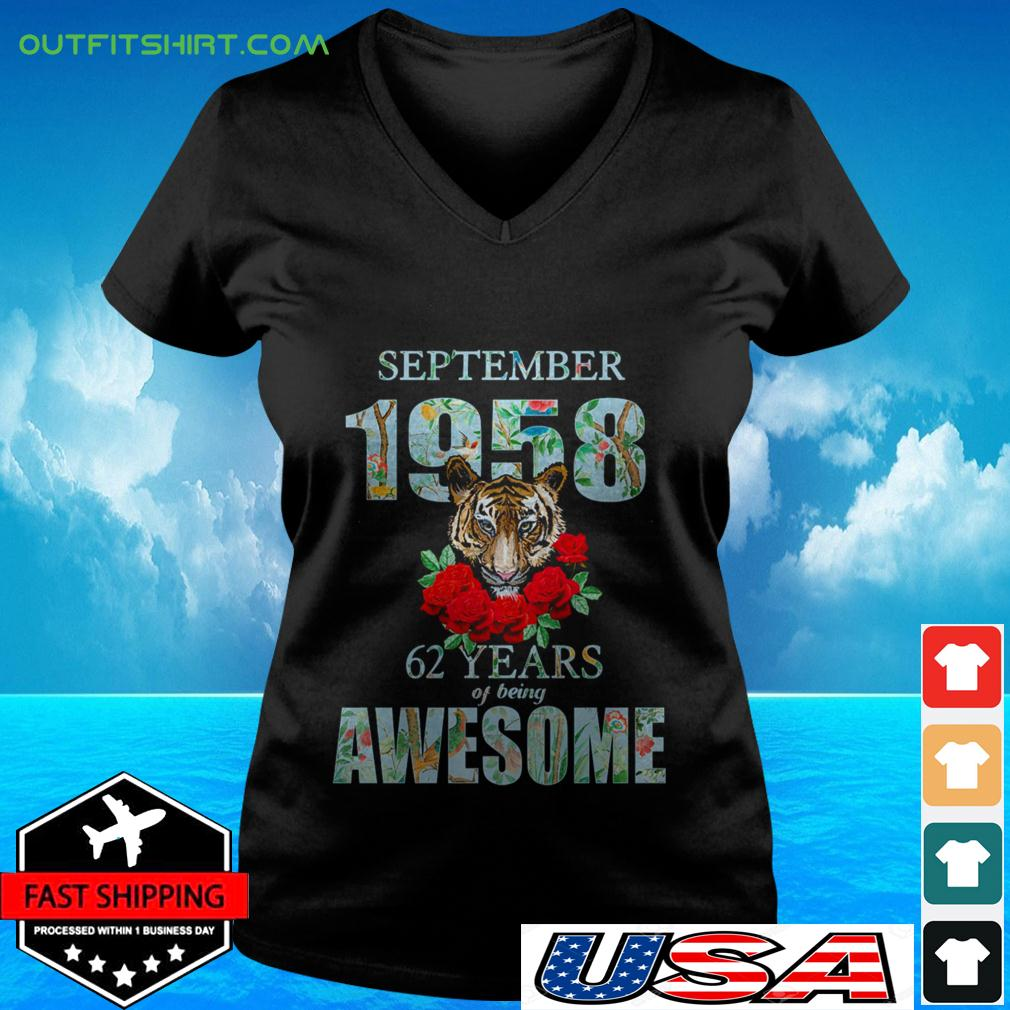 Tiger September 1958 62 years of being awesome v-neck t-shirt