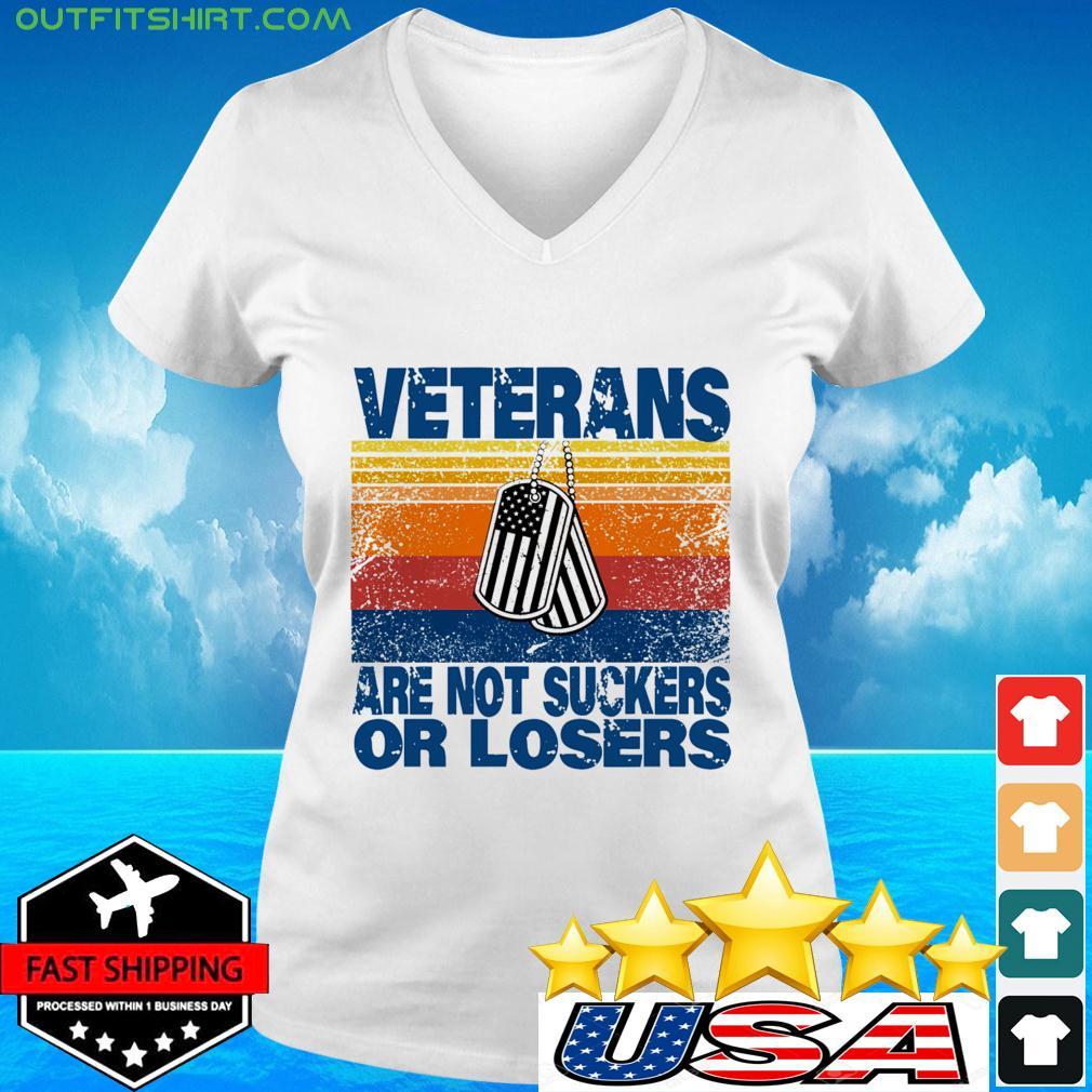 Veterans are not suckers or losers vintage v-neck t-shirt