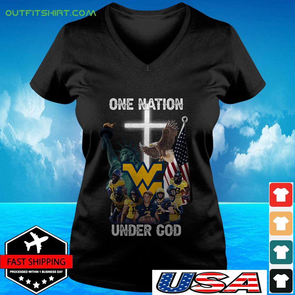 West Virginia Mountaineers one nation under God v-neck t-shirt