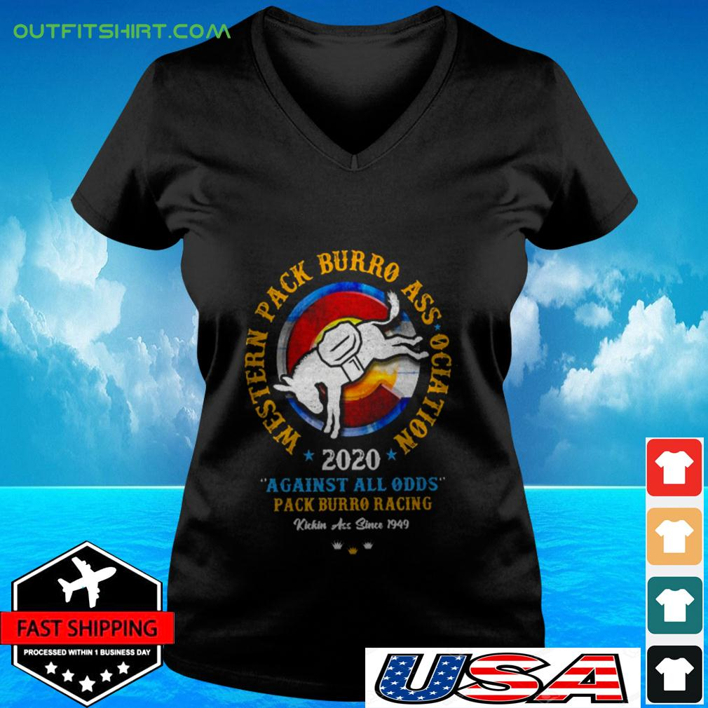 Western pack burro association 2020 against all odds pack burro racing v-neck t-shirt