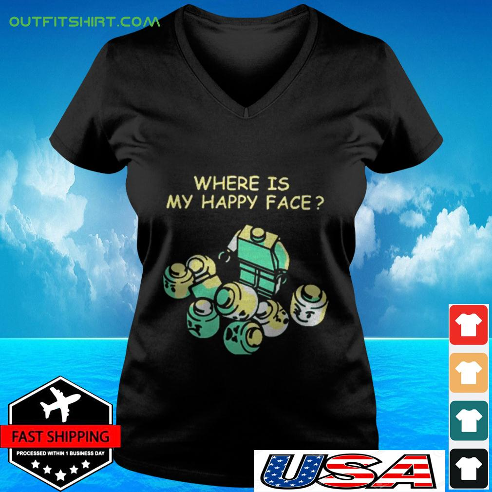 Where is my happy face v-neck t-shirt