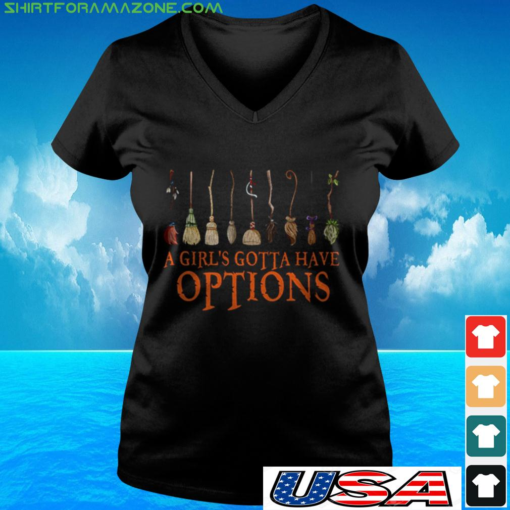 Witch Halloween a girl's gotta have options v-neck t-shirt