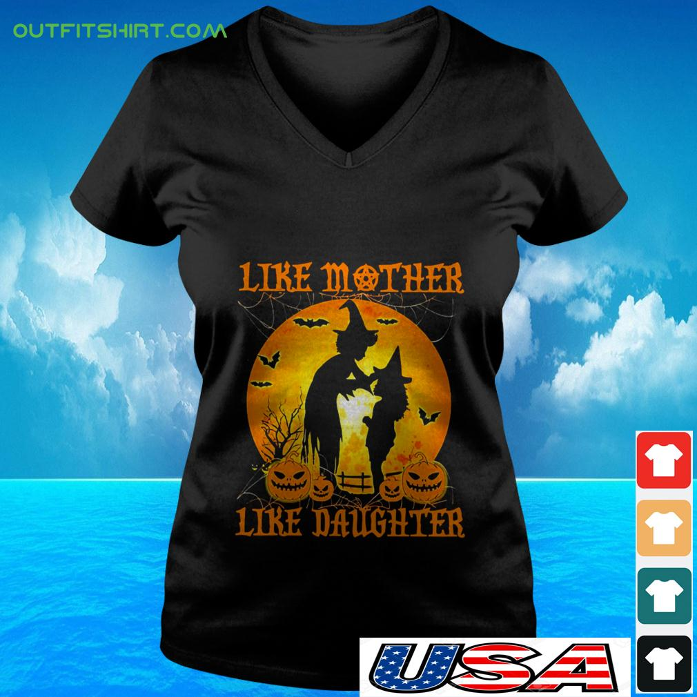 Witch like mother like daughter Halloween v-neck t-shirt