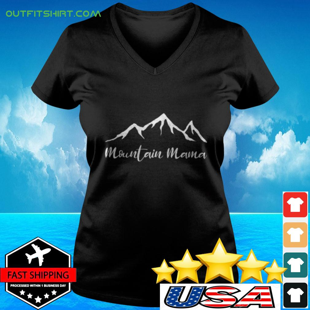 Womens Mother's Day Camping Mountain v-neck t-shirt