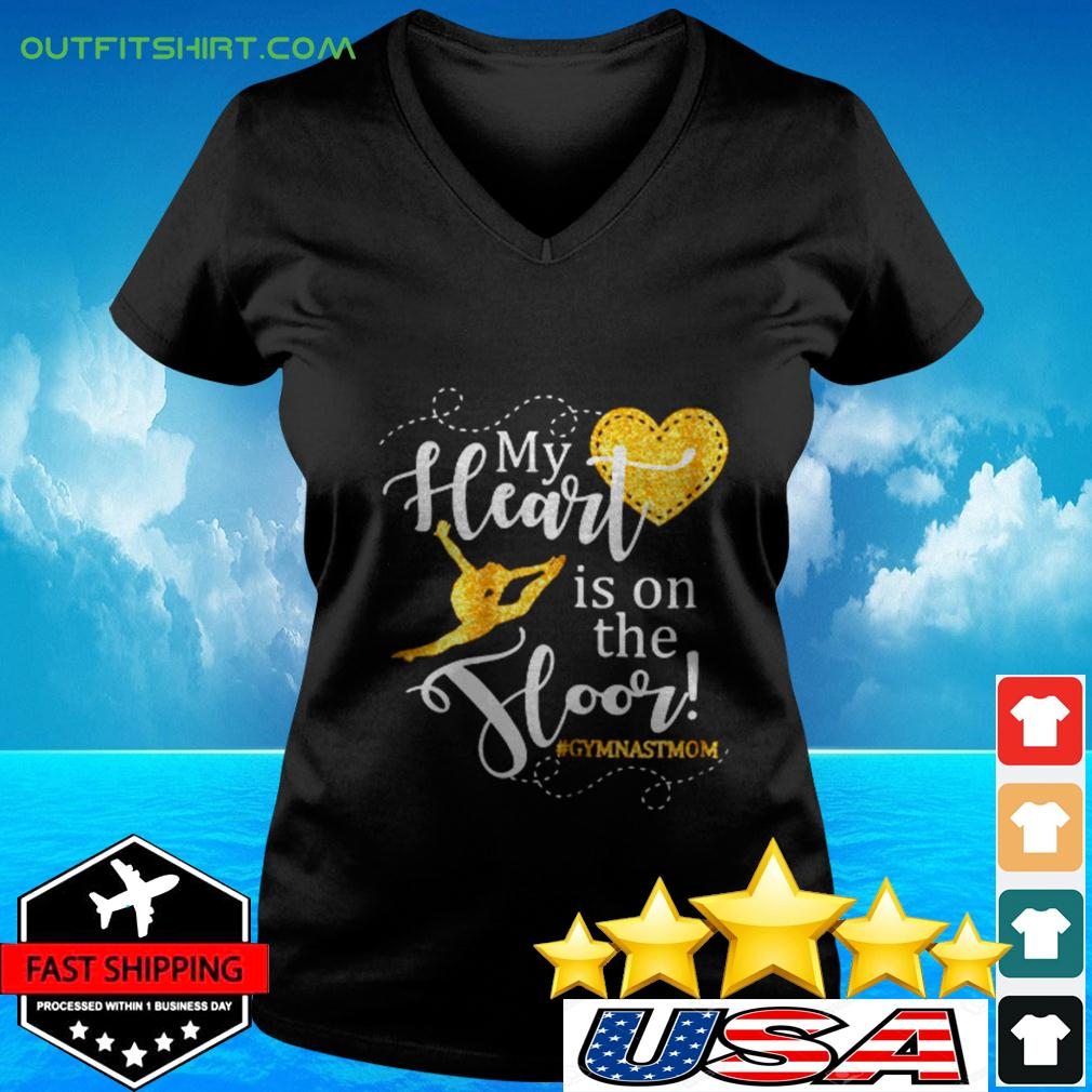 Womens My Heart is on the Floor Gymn v-neck t-shirt