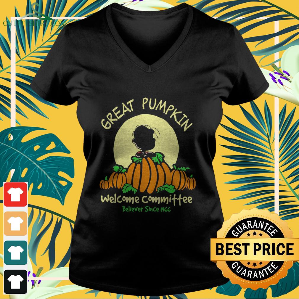 Charlie Brown great pumpkin welcome committee believer since 1966 v-neck t-shirt