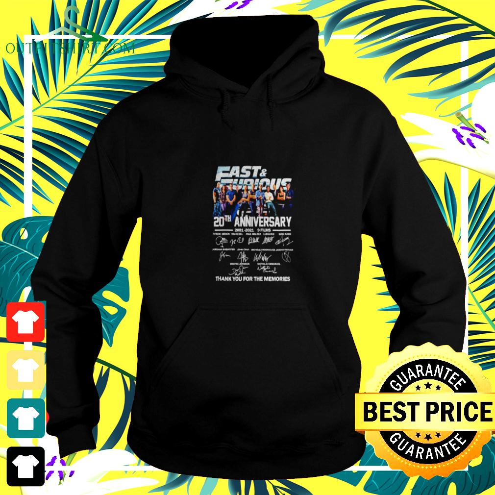 Fast and Furious 20th anniversary 2001 2021 9 films thank you for the memories hoodie