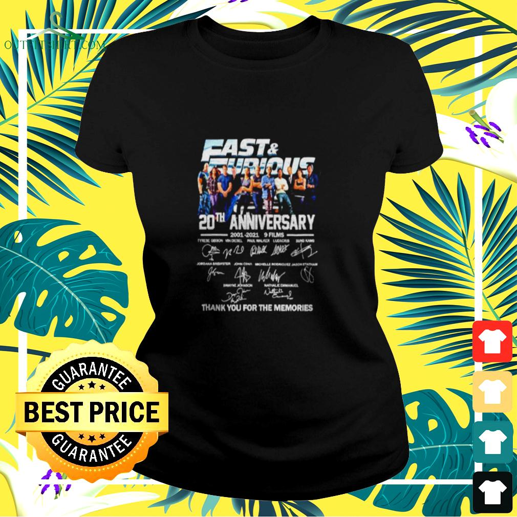 Fast and Furious 20th anniversary 2001 2021 9 films thank you for the memories ladies-tee