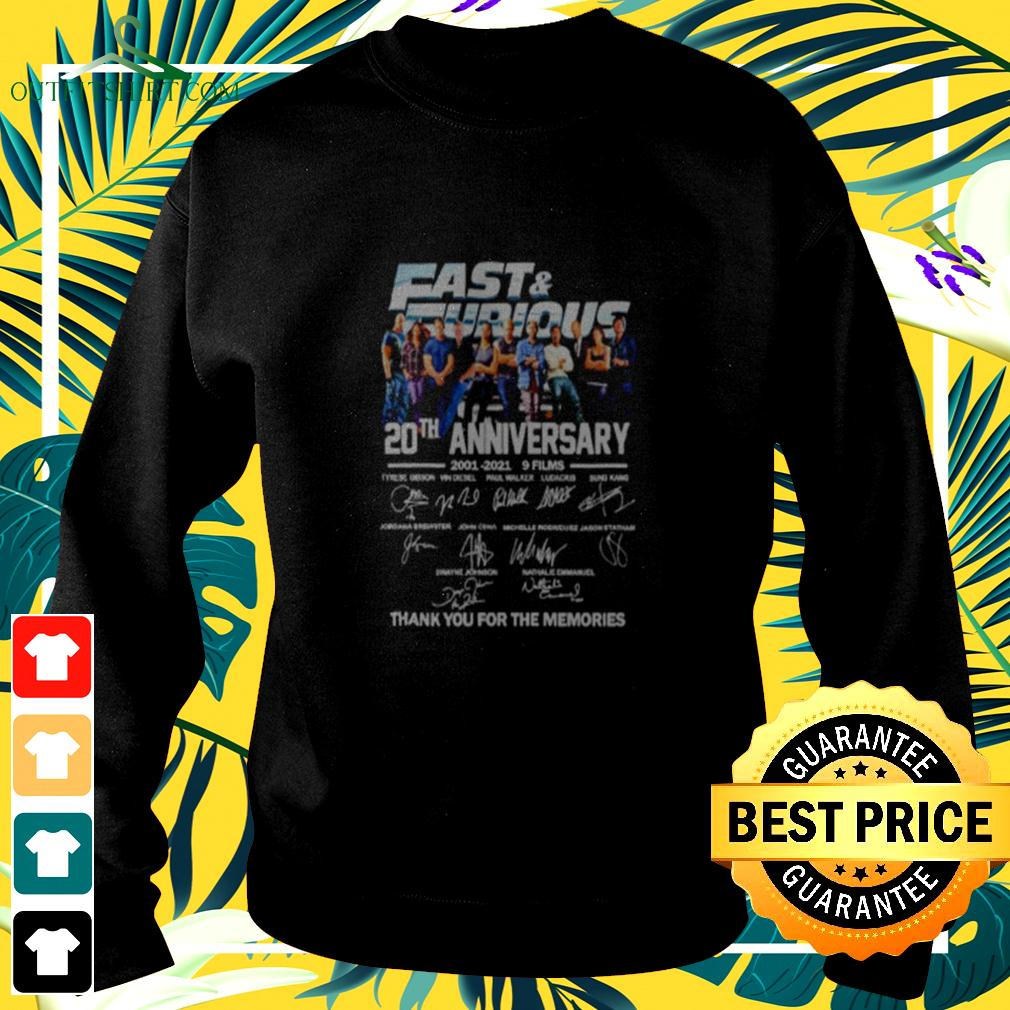 Fast and Furious 20th anniversary 2001 2021 9 films thank you for the memories  sweater