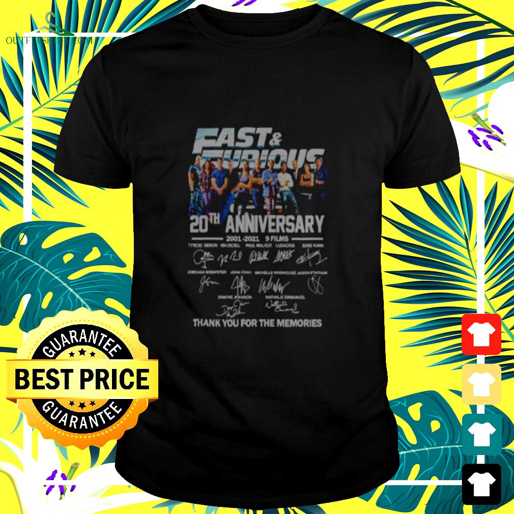 Fast and Furious 20th anniversary 2001 2021 9 films thank you for the memories t-shirt