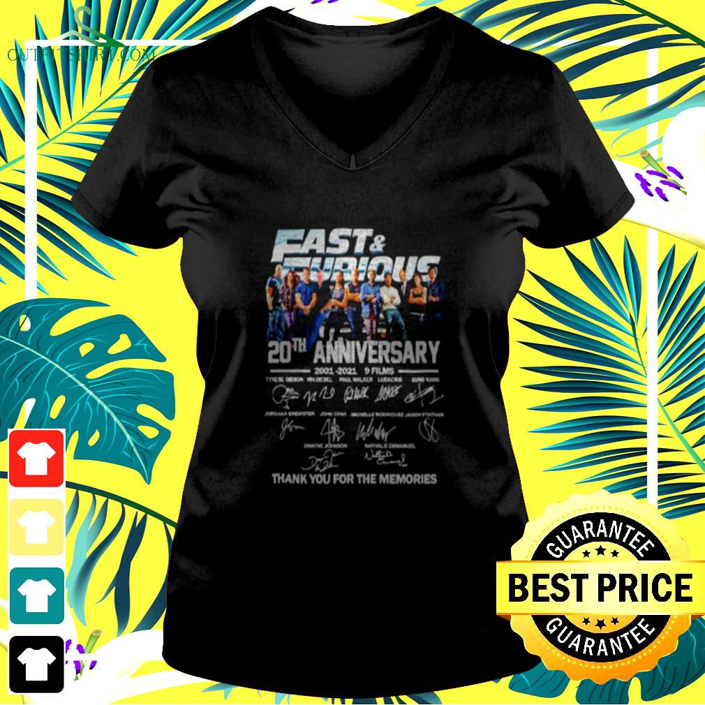 Fast and Furious 20th anniversary 2001 2021 9 films thank you for the memories v-neck t-shirt