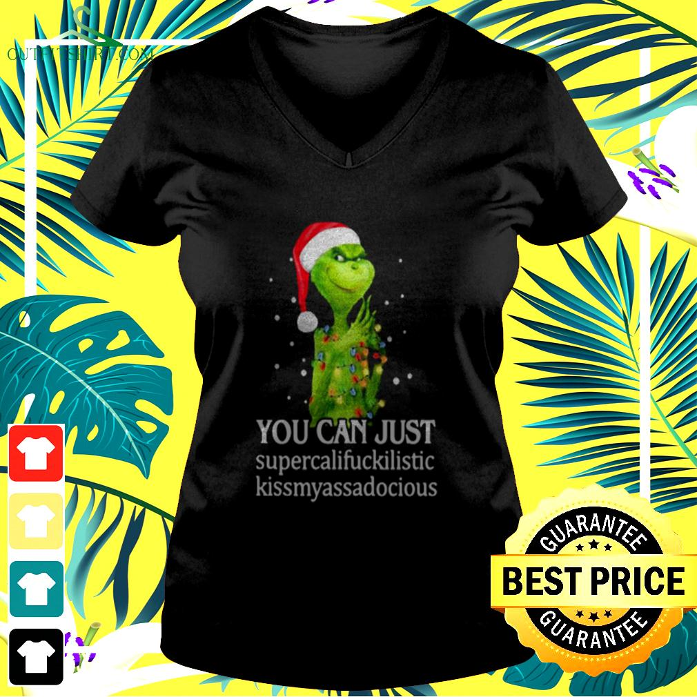Grinch You Can Just Supercalifuckilistic Kiss My Ass Audacious v-neck t-shirt