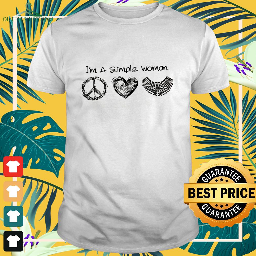 I'm a simple woman hippie heart RBG t-shirt