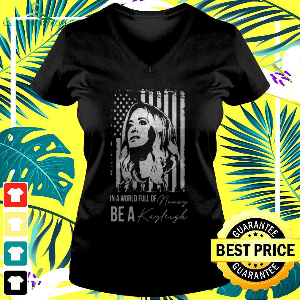 In a world full of be a Navy Kayleigh signature v-neck t-shirt