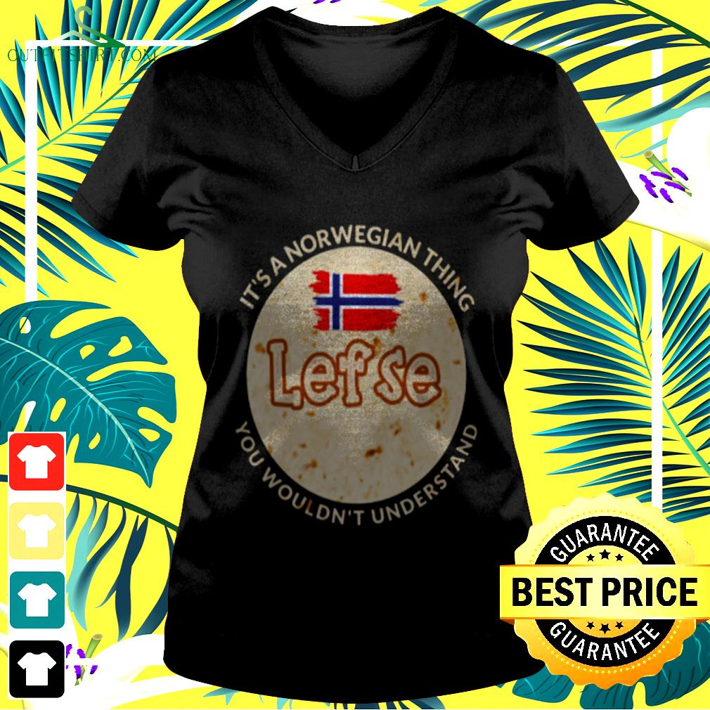It's norwegian thing lef se you wouldn't understand v-neck t-shirt