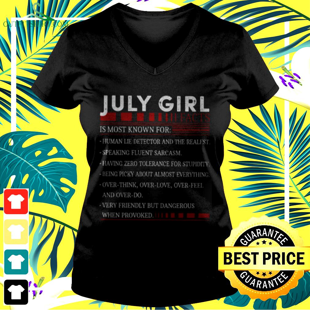 July girl facts is most known for v-neck t-shirt