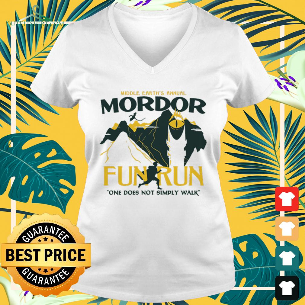 Middle earth's annual Mordor fun run one does not sumply walk v-neck t-shirt