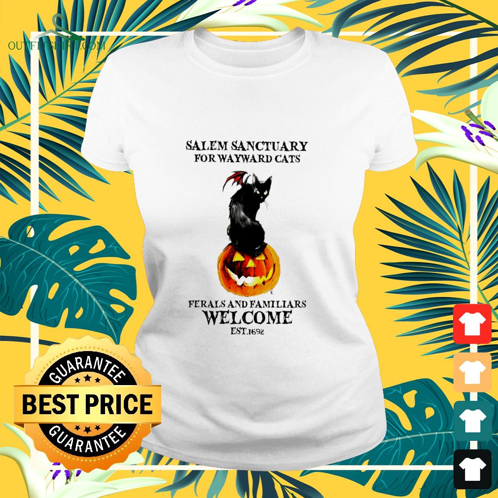 Salem sanctuary for wayward cats ferals and familiars welcome est.1692 halloween ladies-tee